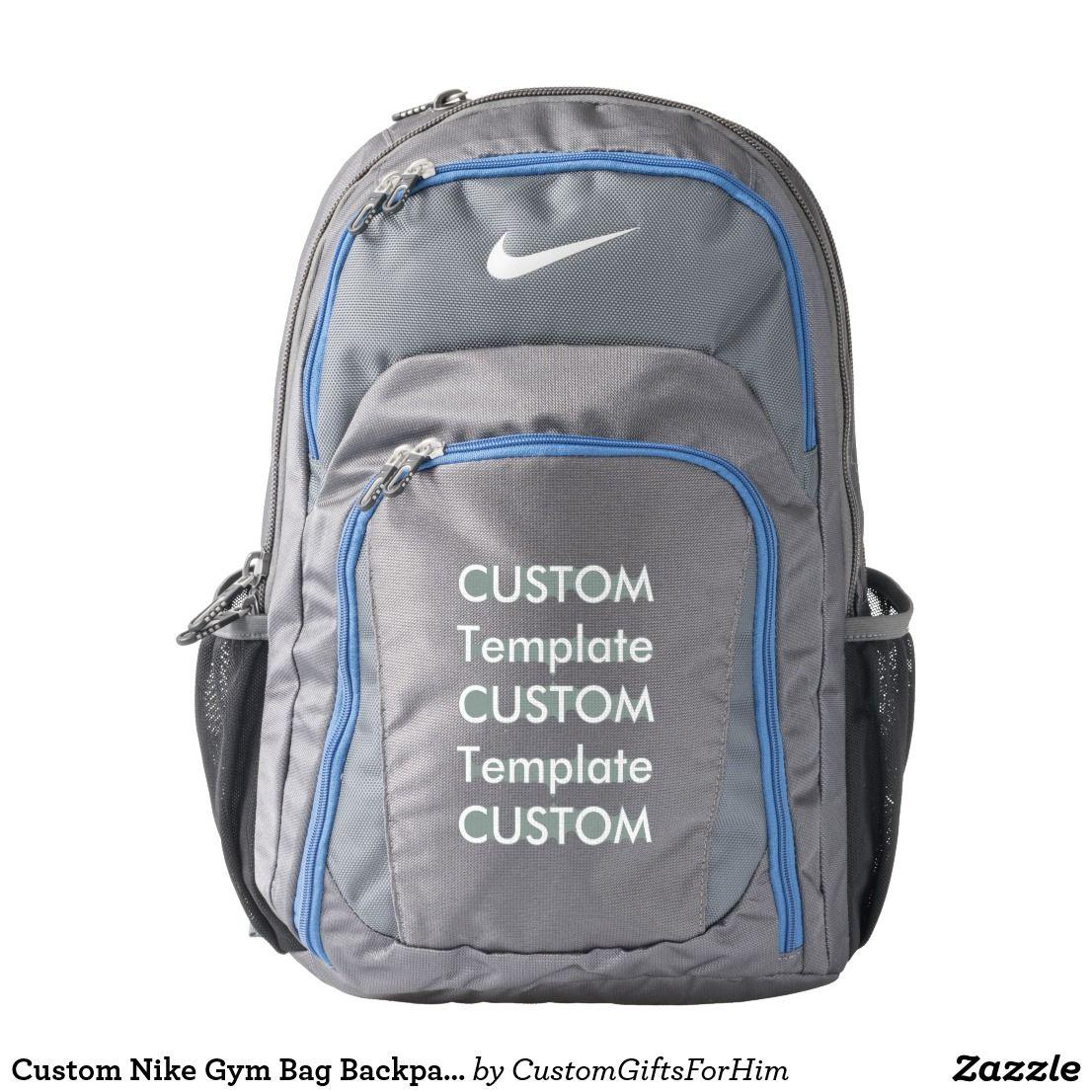 Custom Nike Gym Bag Backpack - GREY   BLUE  cd7592c3100bc