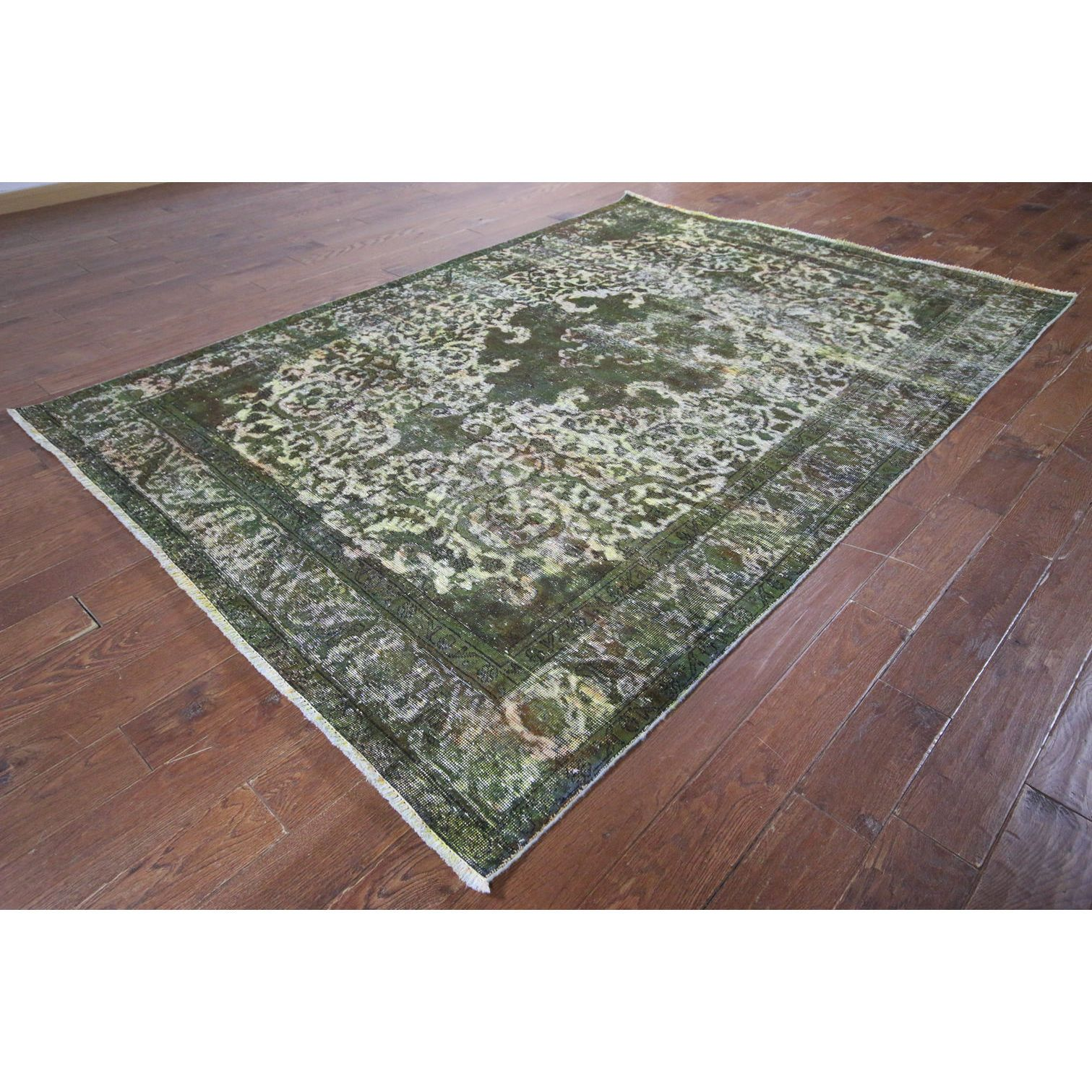 "Manhattan Oriental Over-dyed Green Hand-knotted Wool Rug (6'5 x 9'4) (Color: Green Size: 6' 5"" X 9' 4""), Size 6' x 9'"