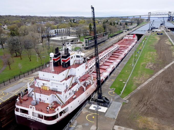 The 634-foot American Courage freighter heads towards