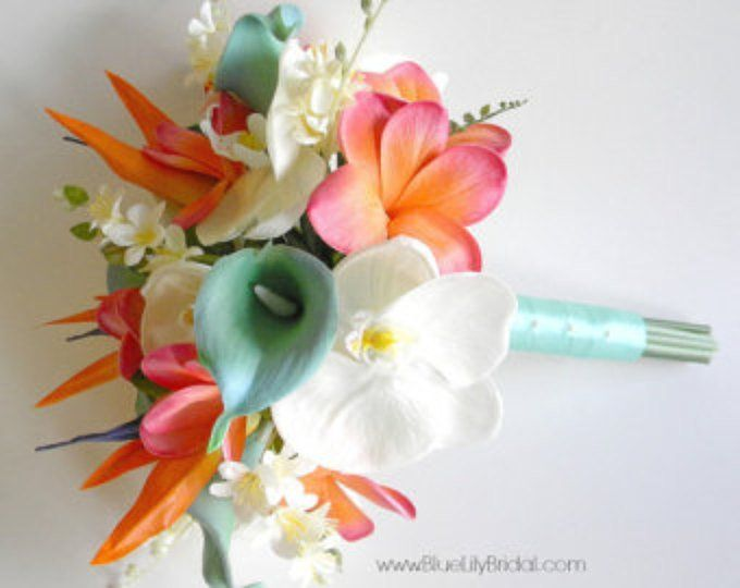 Beach Bridal Bouquet Faux Flowers Coral Aqua Green And Etsy