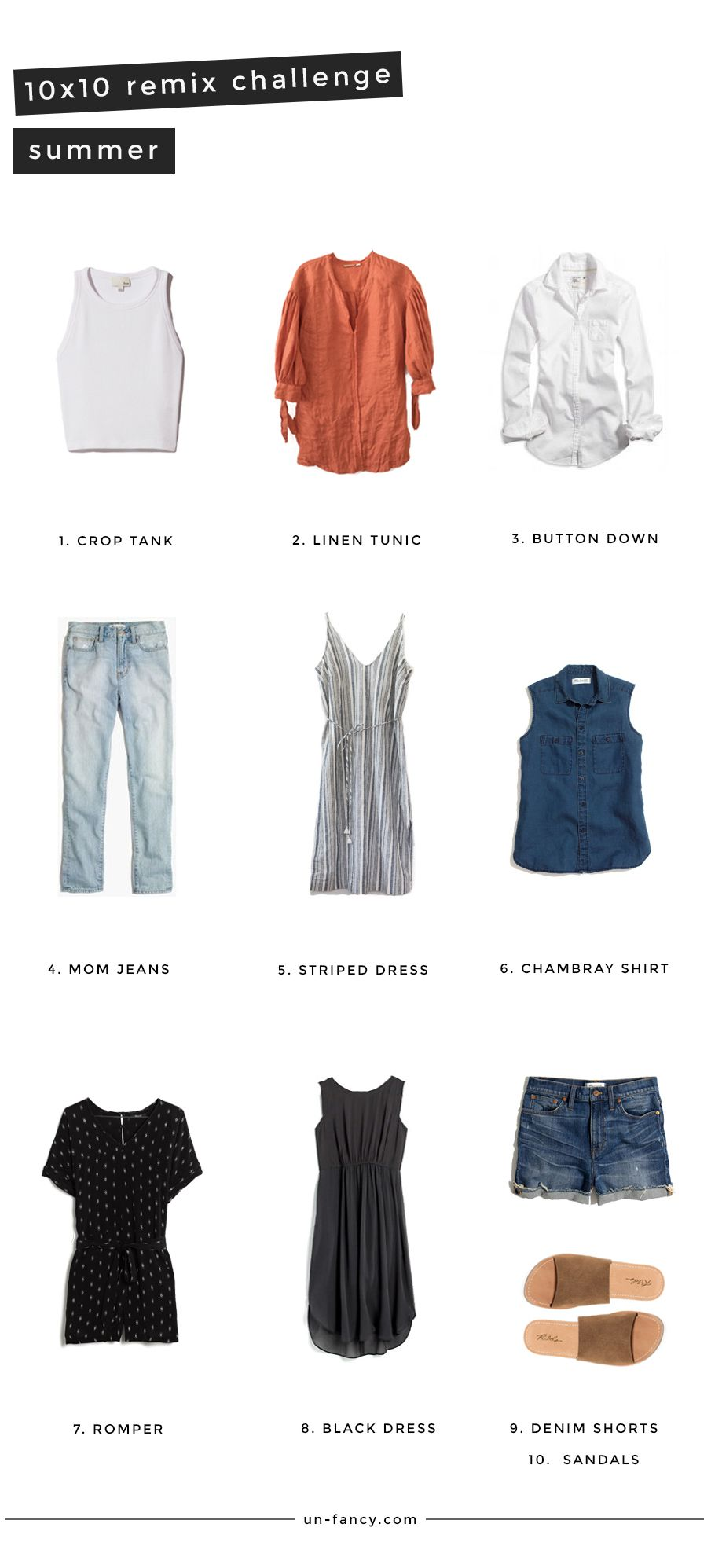 Summer Remix 10 Pieces 10 Outfits 10 Days Summer Capsule Wardrobe Spring Capsule Wardrobe Capsule Wardrobe