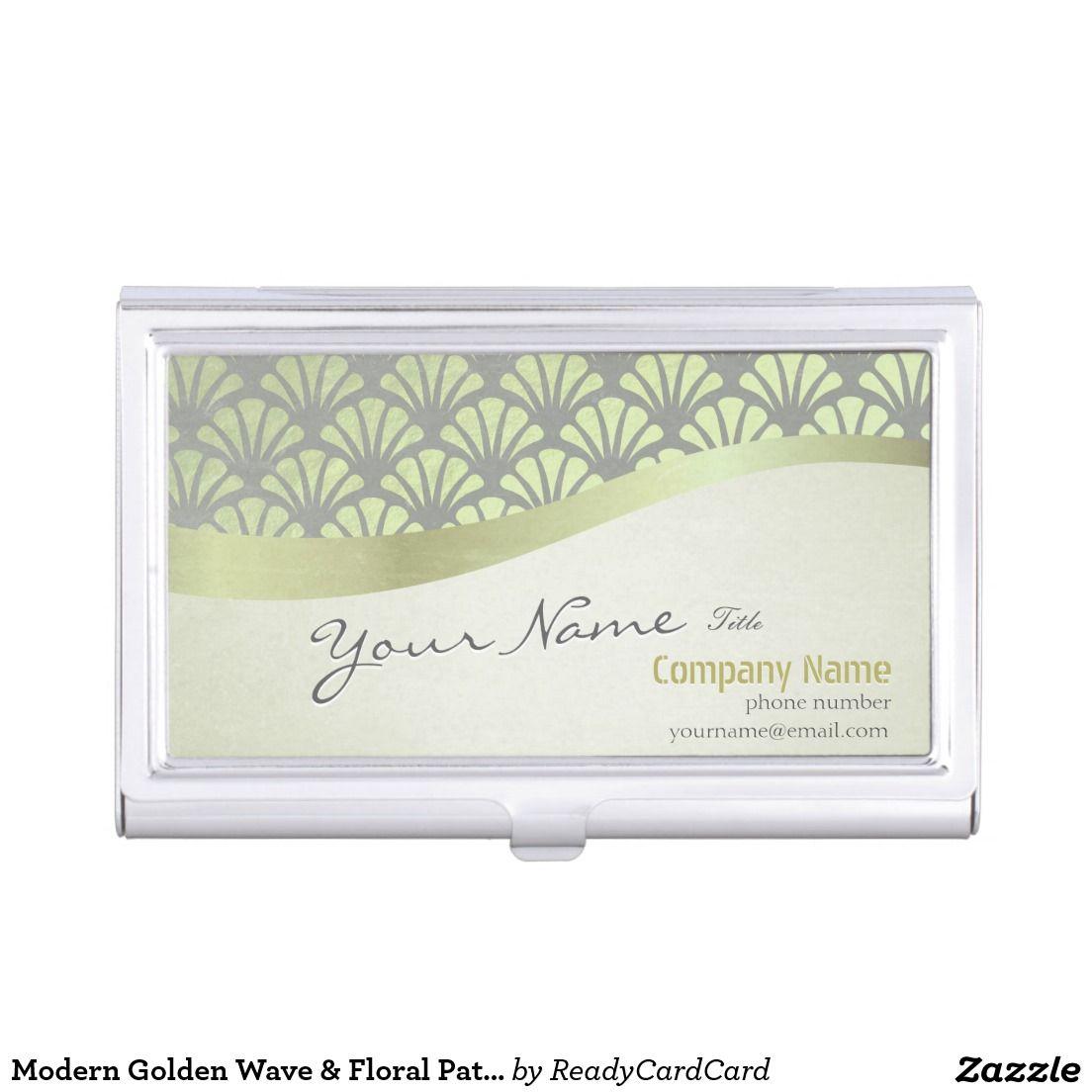 Modern Golden Wave & Floral Pattern Makeup Artist Business Card Holder