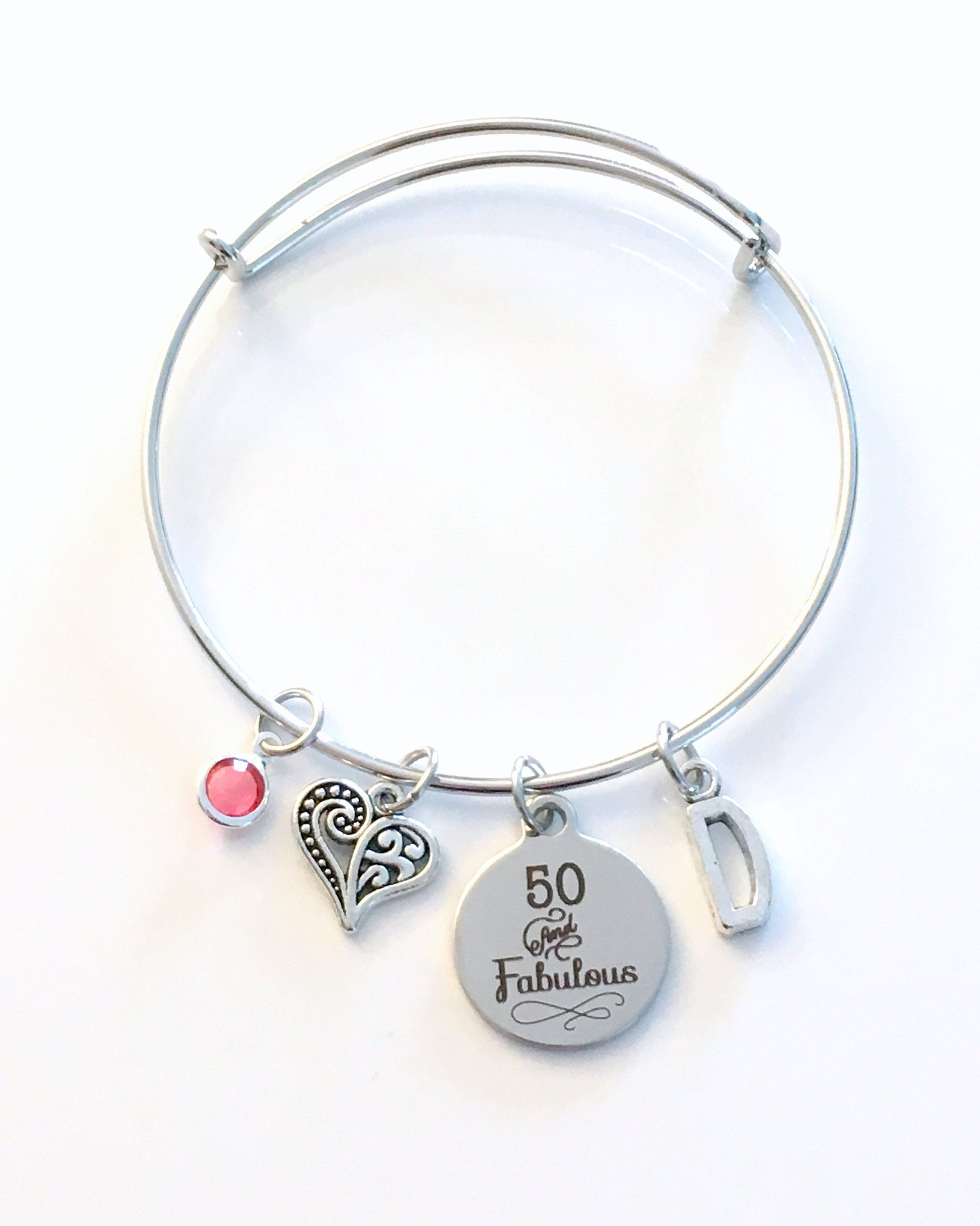 50th Birthday Gift For Women Jewelry Mom Bracelet Fifty And Fabulous Charm Bangle Silver 50 Present Mum Mother Woman Her Best Friends By