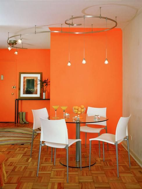 modern dining room decorating ideas, orange paint colors and