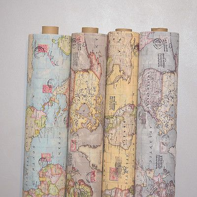 Vintage world map cotton linen fabric curtain upholstery 4 vintage world map cotton linen fabric curtain upholstery 4 colours 54 wide gumiabroncs