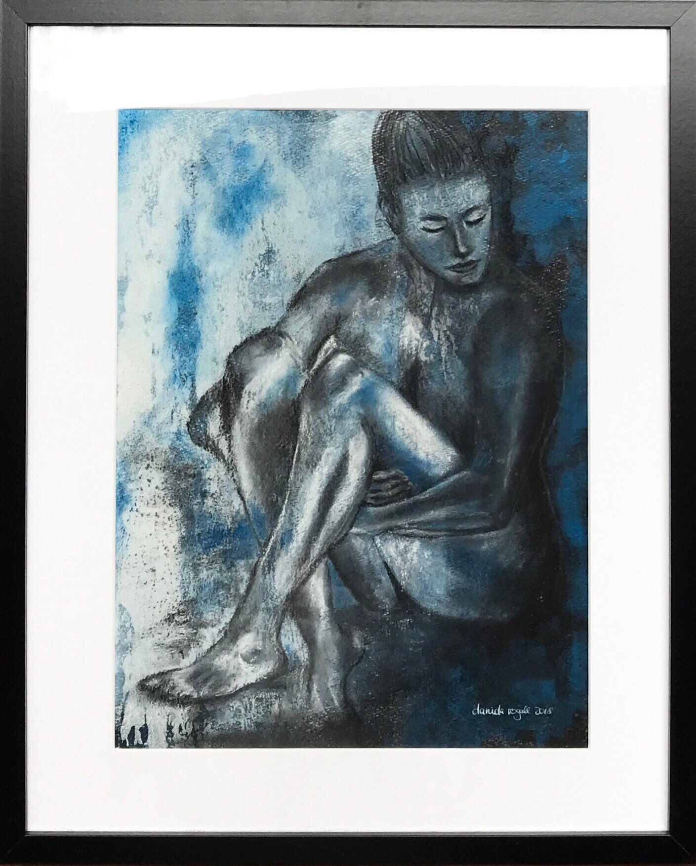 Blue Act 3 Mixed Media Acrylic Painting Charcoal Drawing Painting