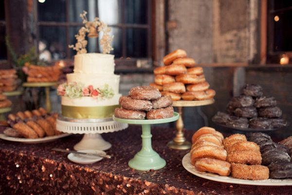 Industrial New York Wedding- donut buffet on variety of cake stands.