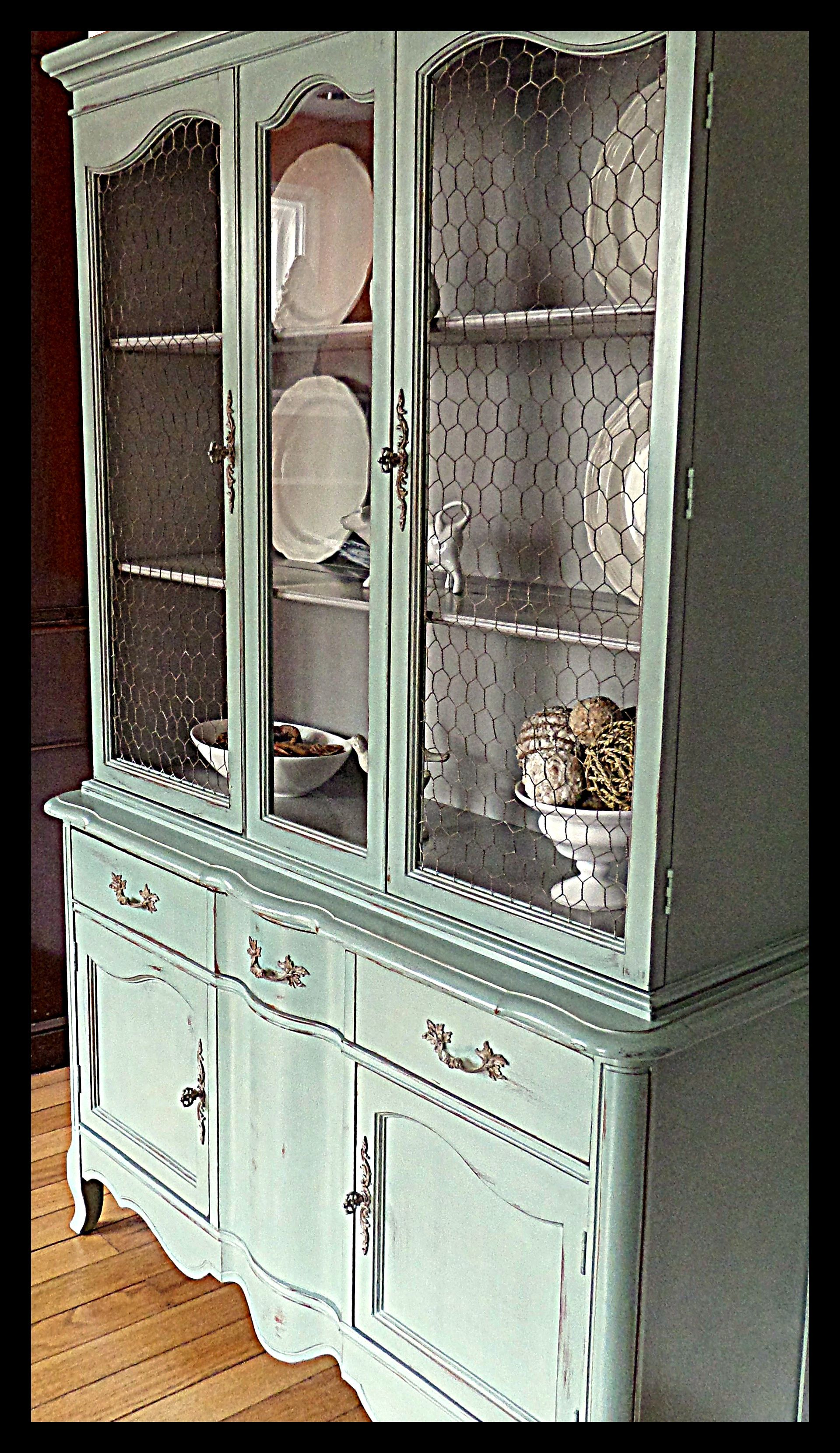 French Country Blue China Cabinet ~ French hardware & chicken wire ...