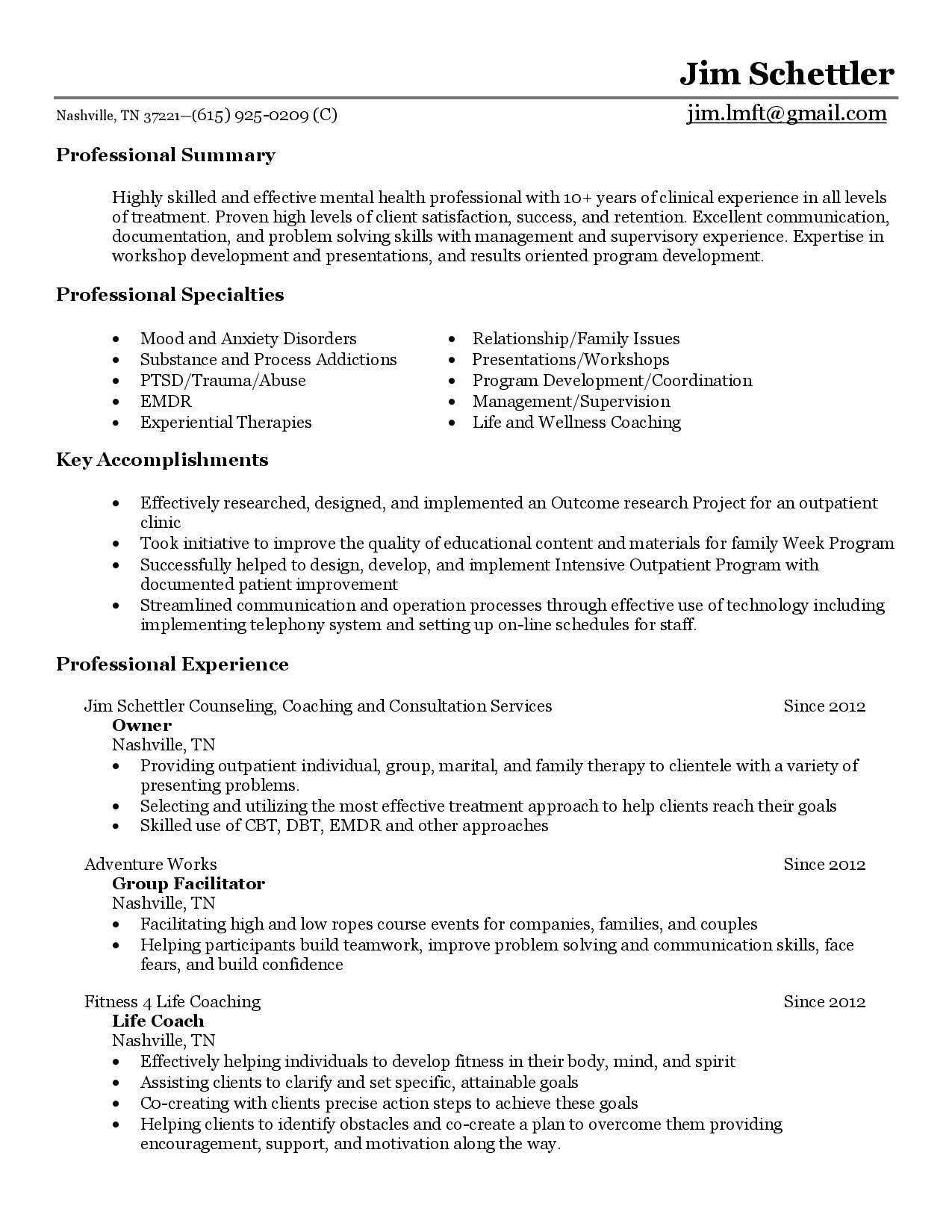 Behavioral Health Counselor Resume Sample  College Counselor Resume