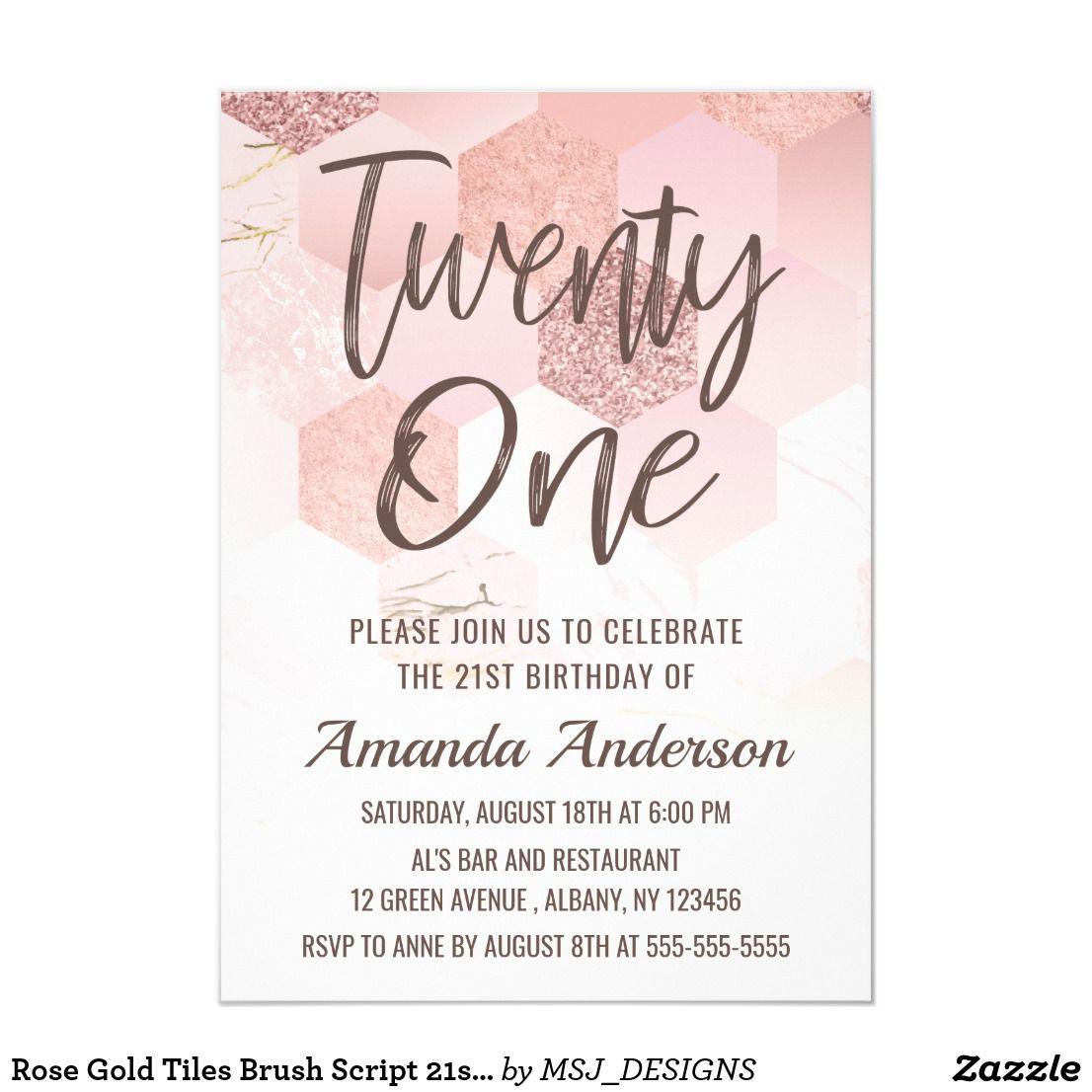 Rose Gold Tiles Brush Script 21st Birthday Invitation Zazzle Co Uk 21st Birthday Invitations 40th Birthday Invitations Birthday Invitations