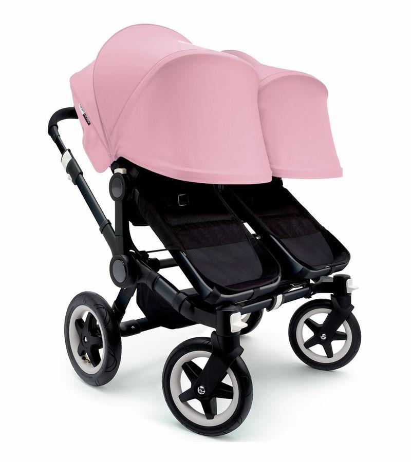 Bugaboo Donkey Twin Stroller Extendable Canopy All Black Soft Pink Twin Strollers Bugaboo Stroller Bugaboo Donkey