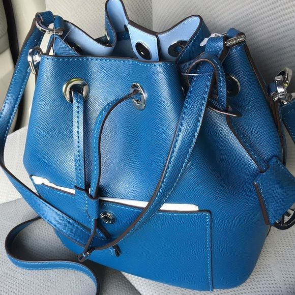d65045d95ea0c Michael Kors Greenwich Medium Bucket Bag This bag is in Steel blue Light  Sky