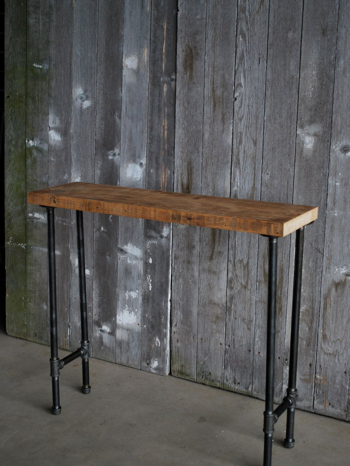 4 Ft Industrial Console Table With Pipe Legs And Hanging Locker