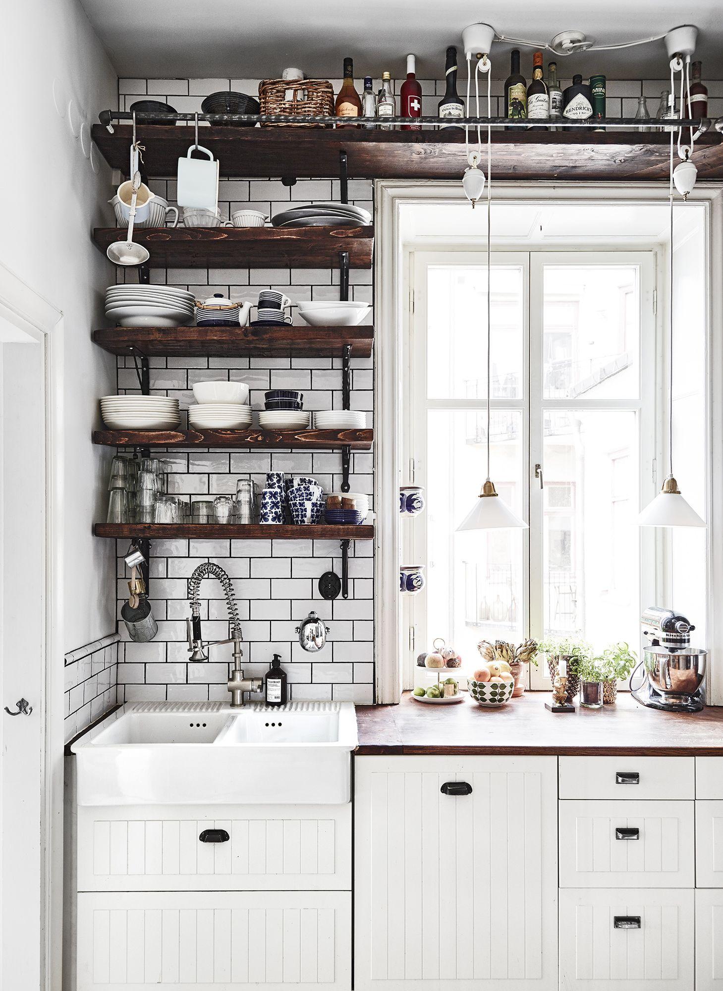 farmhouse kitchen with open shelves tiny house kitchen interior design kitchen kitchen interior on farmhouse kitchen shelf decor id=18690