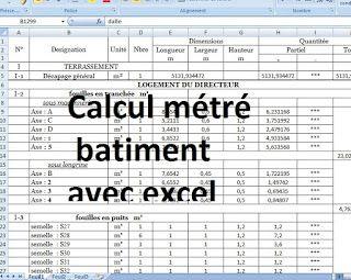 Calcul Metre Batiment Excel Avec Plan Batiment Dwg Devis Batiment Cours Genie Civil Calcul