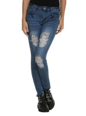 Judy Blue Medium Blue Distressed Skinny Jeans