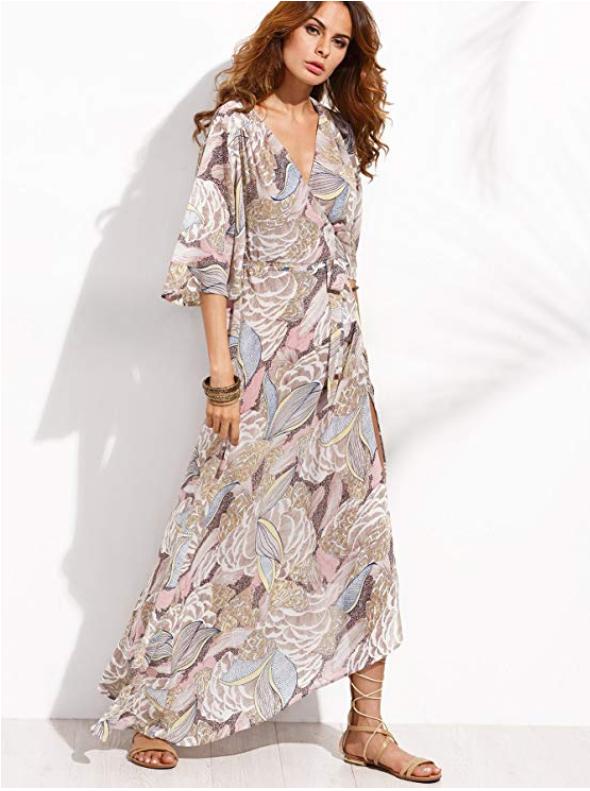 74c1955bade12 Milumia Women s Boho Deep V Neck Floral Chiffon Wrap Split Long Maxi Dress