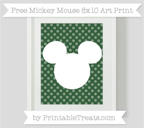 Free Hunter Green Dotted Pattern  Mickey Mouse 8x10 Art Print