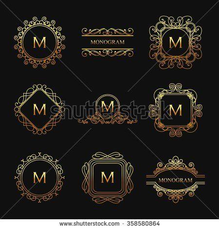 vector set of golden luxury monogram set monograms business cards