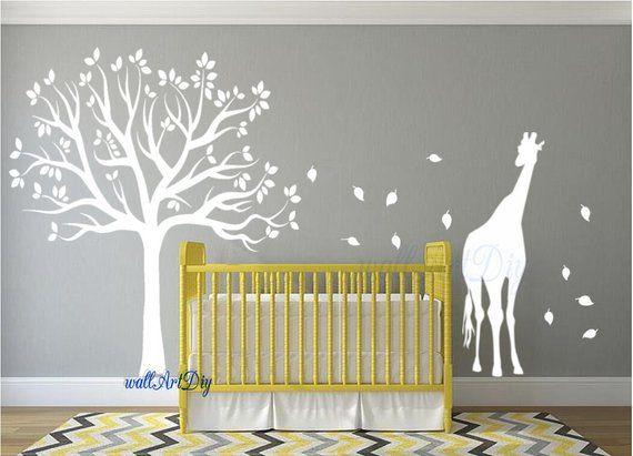 Stickers Muraux Chambre Du0027enfant Arbre Pochoir Arbre Blanc Mural Stickers  Muraux Pochoirs Girafe Arbre Adhésifs Pour Murale De Chambre Du0027enfant Blanc  ...