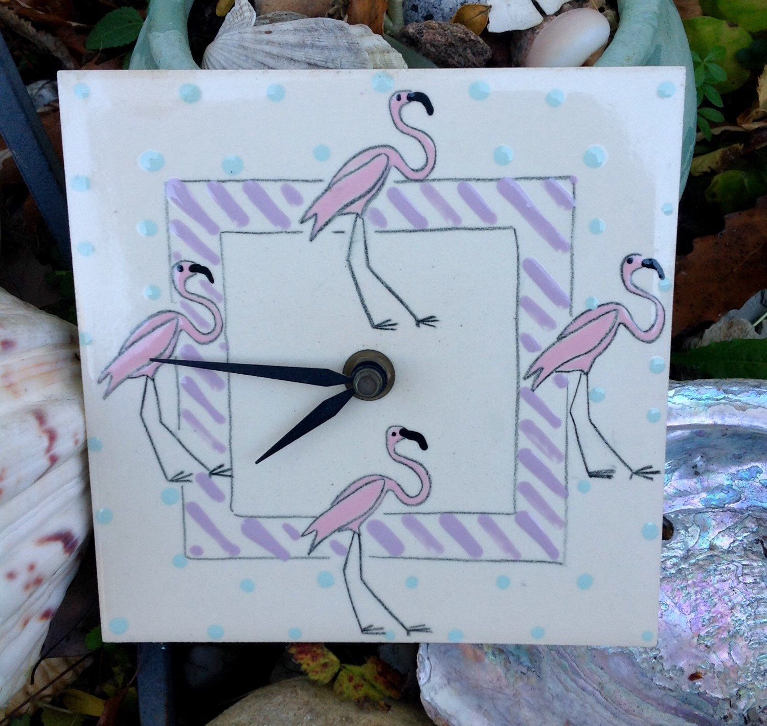 SALE-FREE SHIPPING..Vintage Flamingo Tile Clock-Handpainted-Made in ...