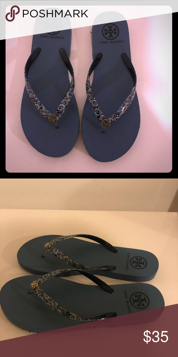 958efcae2dca5 Tory Burch Flip Flops size 9 Size 9 Blue paisley print on straps Tory Burch  Shoes Flats   Loafers