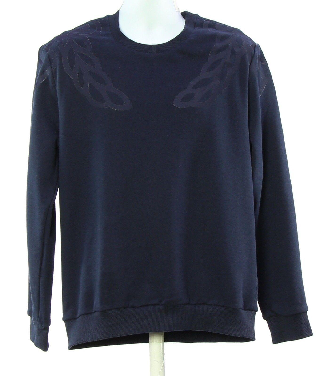 Womens MCM Navy Blue 100% Cotton Crewneck Sweater Size Large ...