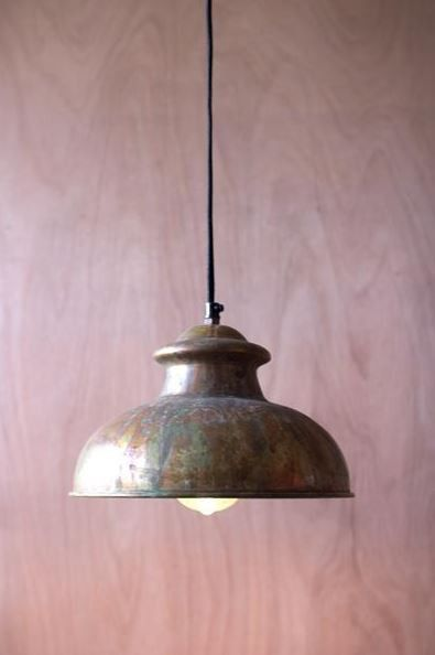 "Kalalou Antique Rustic Pendant 10""t"