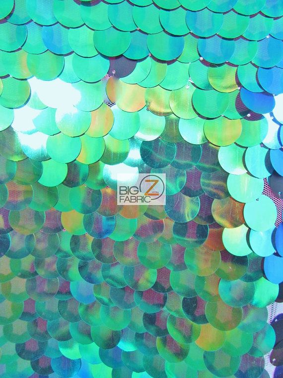 038d65394 Big Dot Sequin Hologram Mesh Fabric - MERMAID GREEN - 52 54