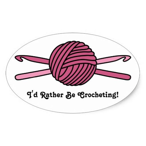 Cartoon Knitting Needles : Pink ball of yarn crochet hooks oval sticker zazzle