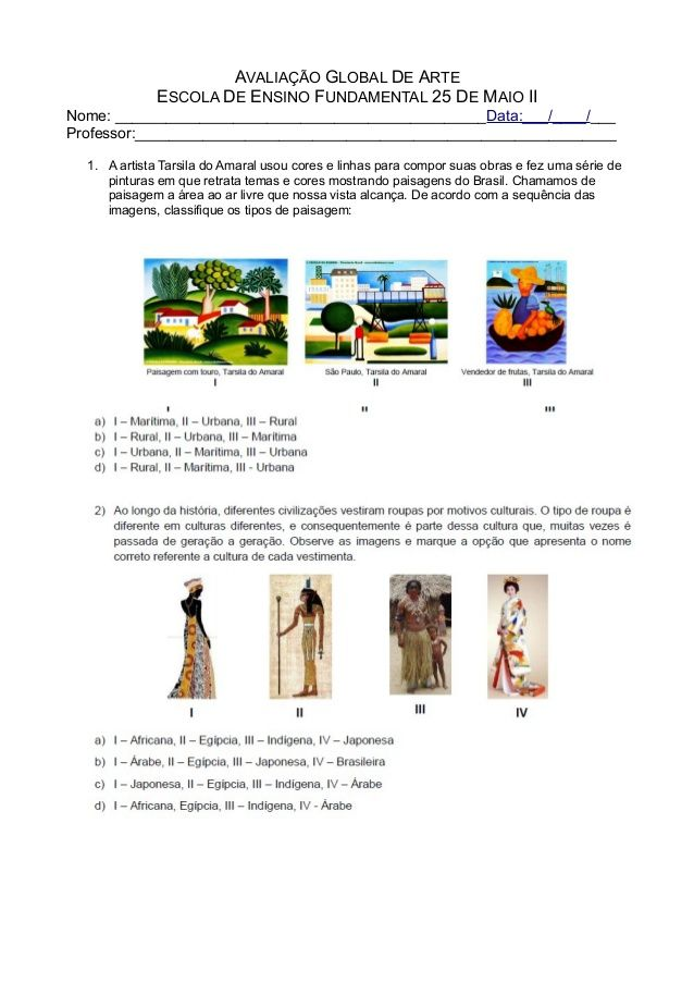 Avaliacao Global De Arte Escola De Ensino Fundamental 25 De Maio