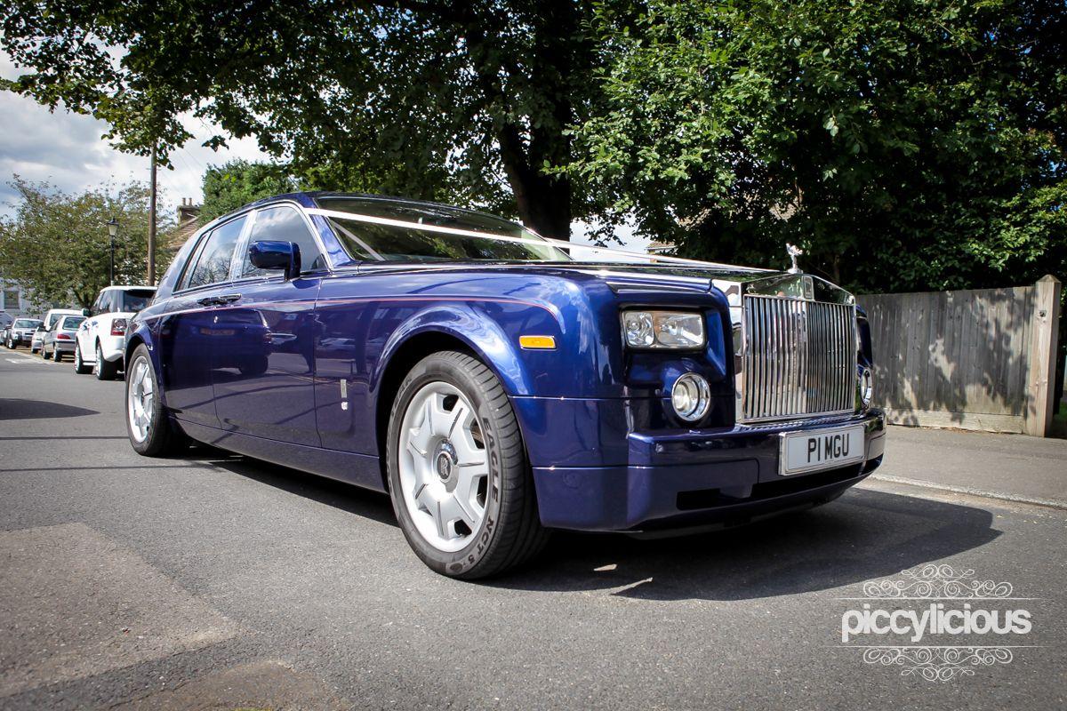 Blue Rolls Royce Wedding Car