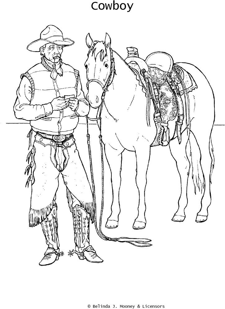 coloring cowboy book pages - photo#33