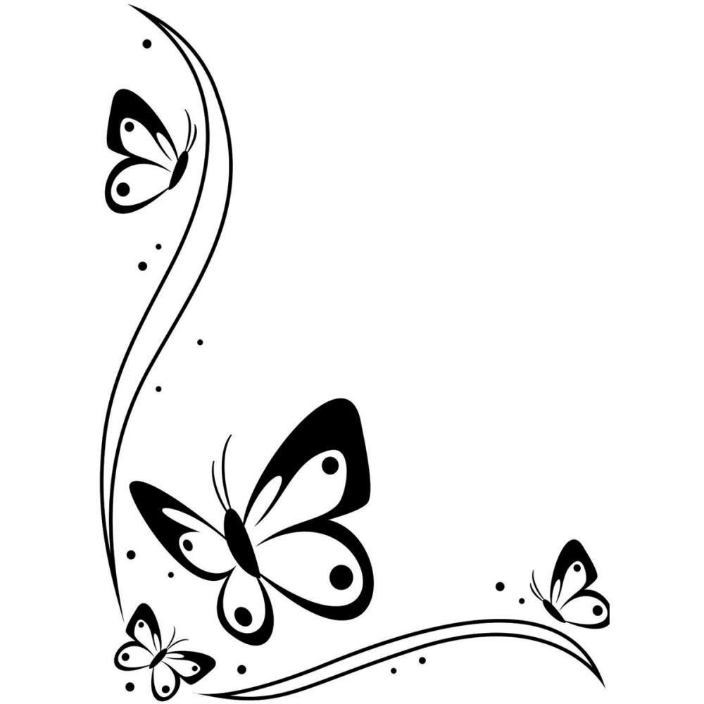 butterfly border black and white clipart [ 1000 x 1000 Pixel ]