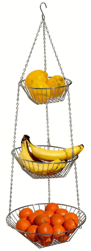 3 Tier Wire Hanger Fruit Vegetable Basket Bowl Holder Hanging Kitchen  Storage #DecoBros