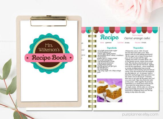 word recipe book template