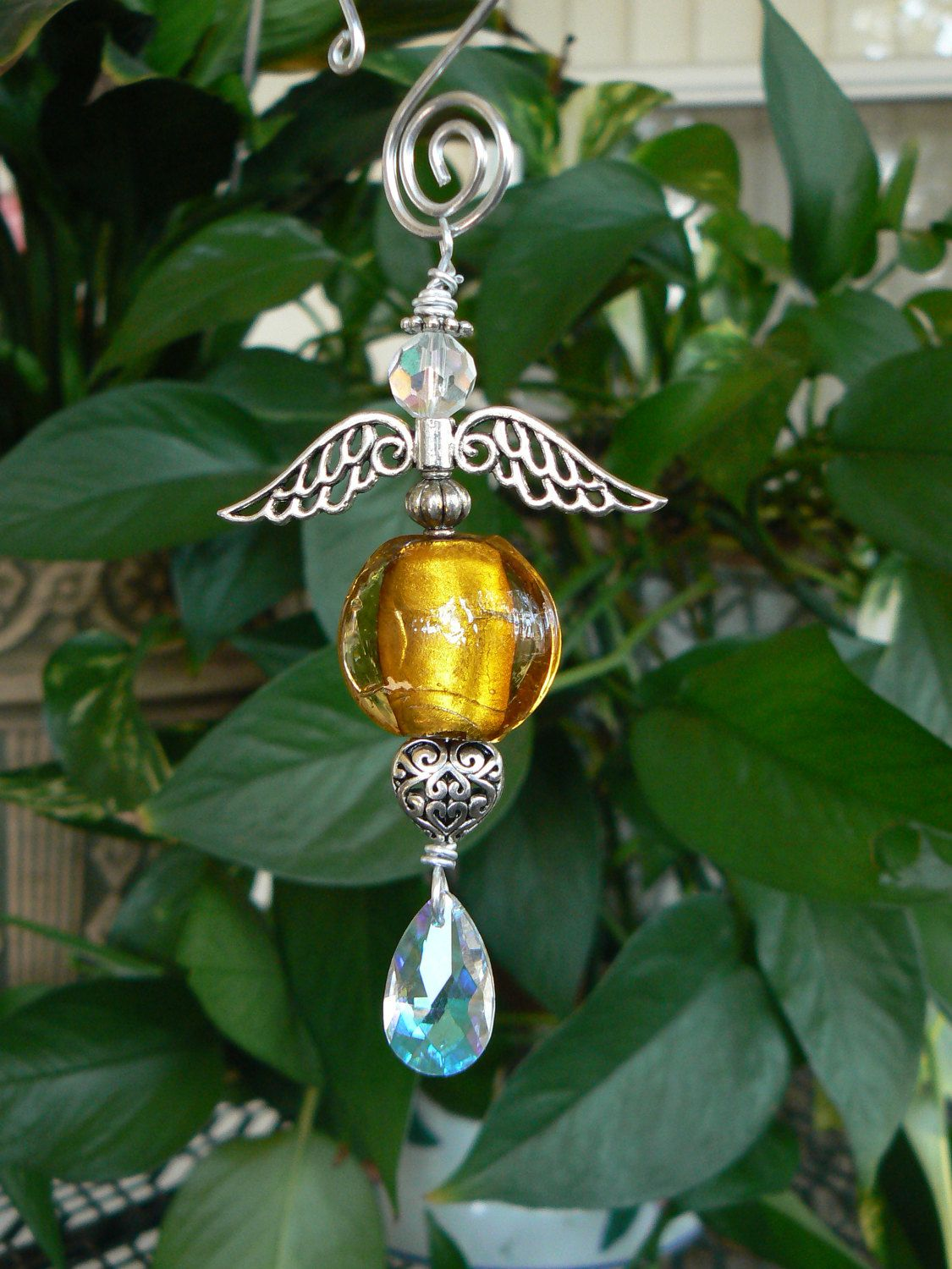 Butterscotch puffed coin hand blown glass hanging angel by LindaGillottiDesigns on Etsy