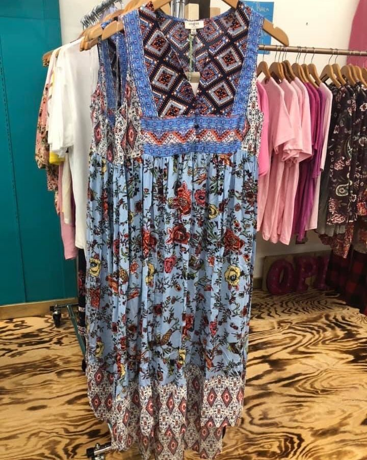 The New Arrivals just keep coming in and we get excited every time we open a box!! Absolutely LOVE  The New Arrivals just keep coming in and we get excited every time we open a box!! Absolutely LOVE this Maxi runs a little generous. Sizes small medium large. Im thinking this would be a perfect dress for Mothers Day or graduation.