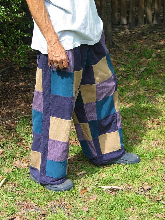 Handmade Mens Corduroy Hippie Patchwork Pants with Pockets ...