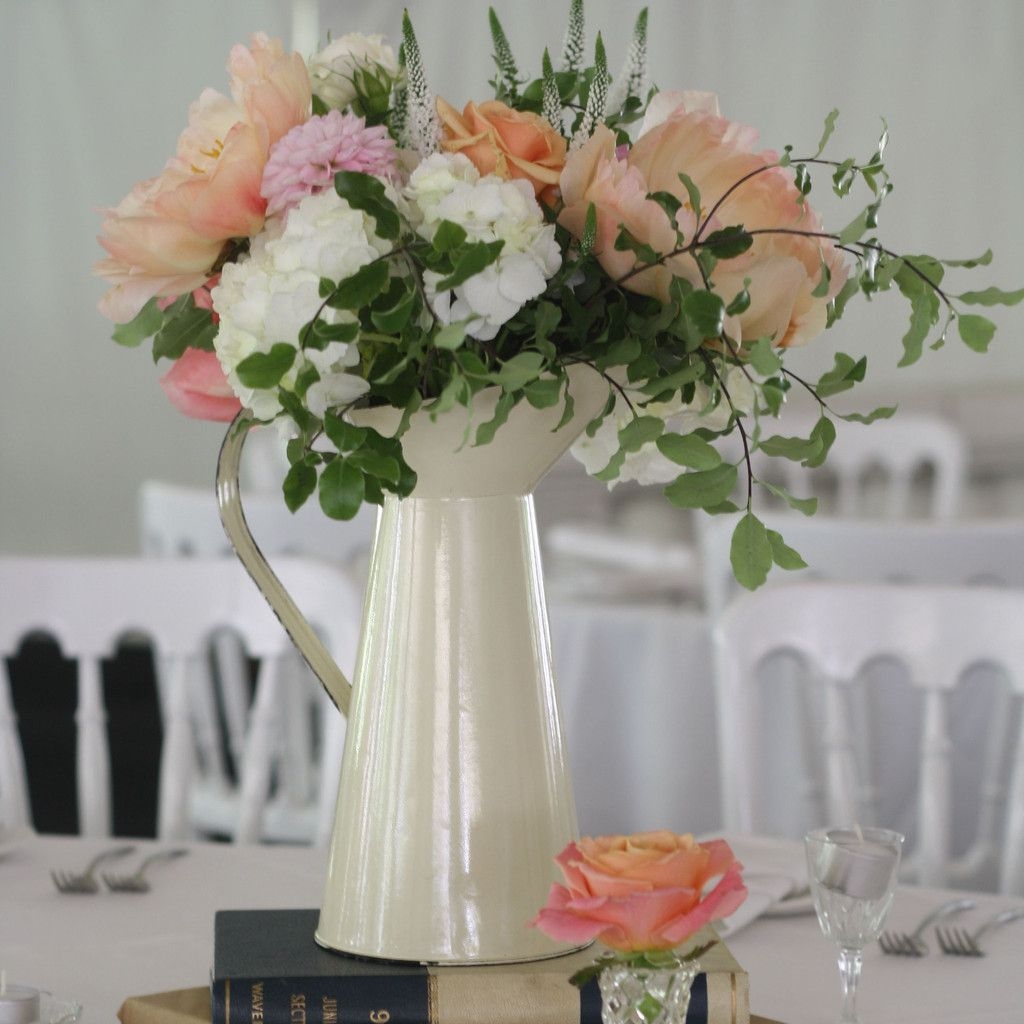 Cream Jugs Wedding Centrepieces For Country Garden