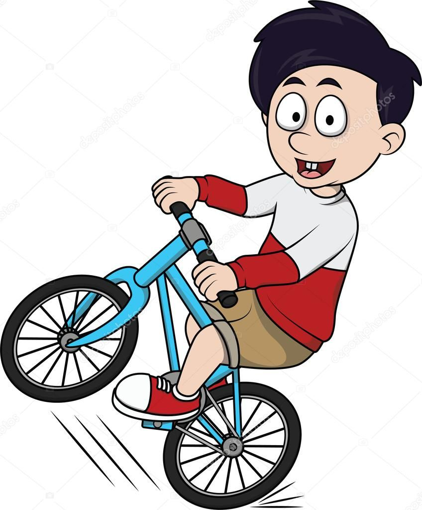 Ilustración De Dibujos Animados Niño Montar A Bicicleta Cartoon Illustration Cartoon Illustration