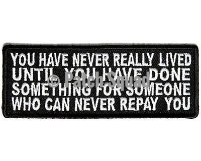 You Have Never Really Lived Embroidered Motorcycle MC Biker Funny Patch PAT-3097