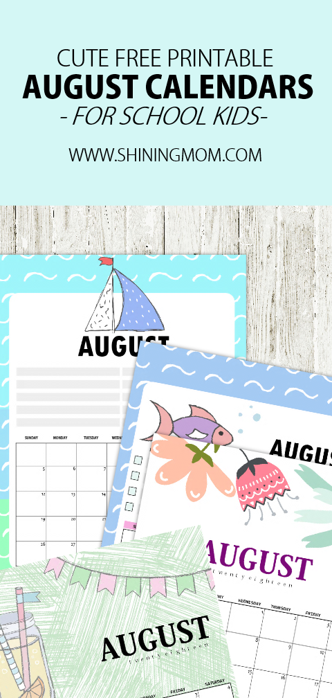 Free Printable August 2018 Calendar: 12 Awesome Designs