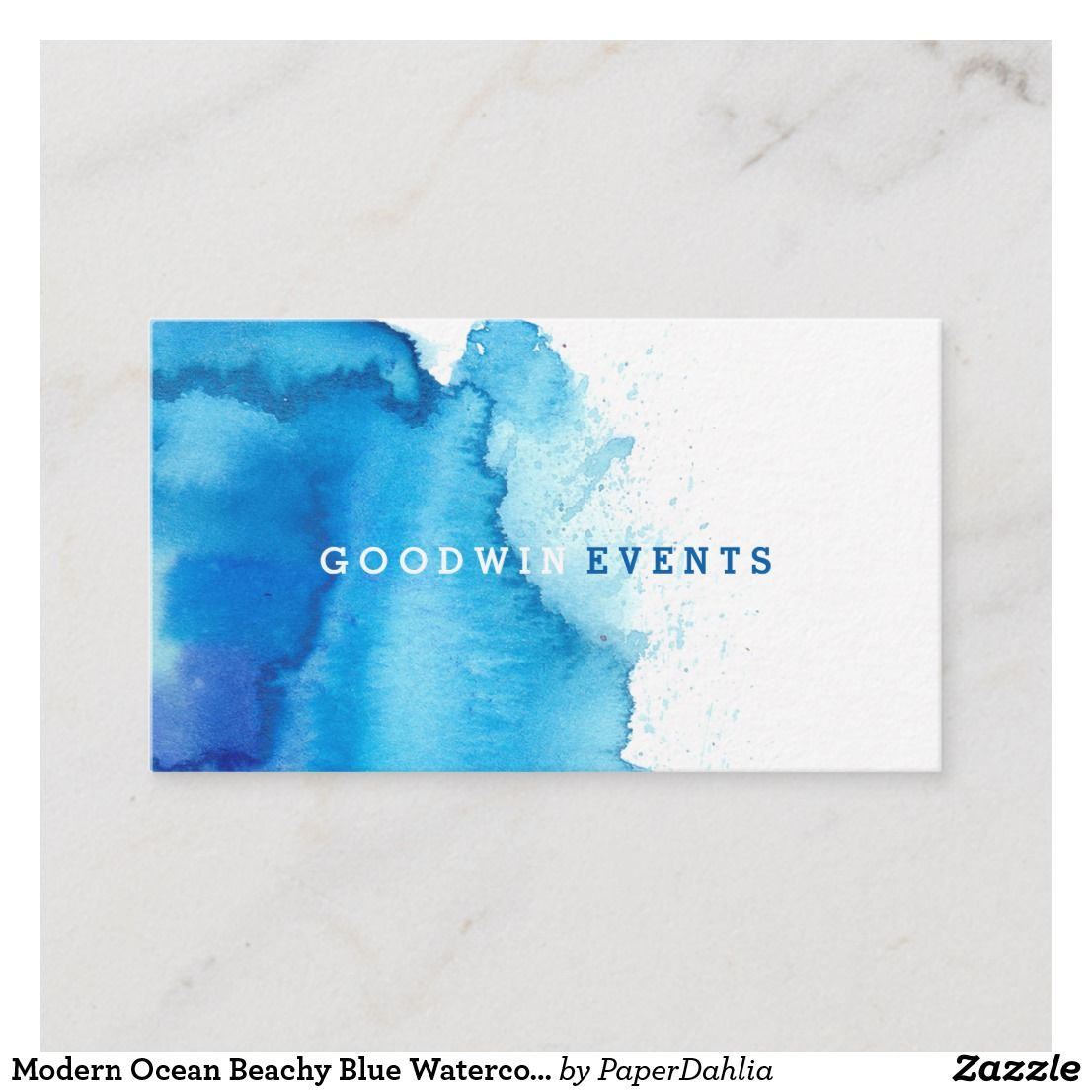 Modern Ocean Beachy Blue Watercolor Business Cards Zazzle Com