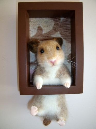 OOAK Needle Felted Hamster wall decor by Lubania