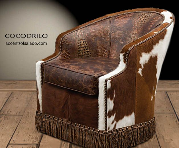 Remarkable Western Cowhide And Crocodile Leather Chair At Accents Of Creativecarmelina Interior Chair Design Creativecarmelinacom