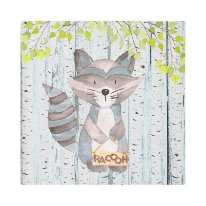 #Posters #Metal #Art - #Racoon Woodland Friends - Watercolor illustration Metal Photo Print
