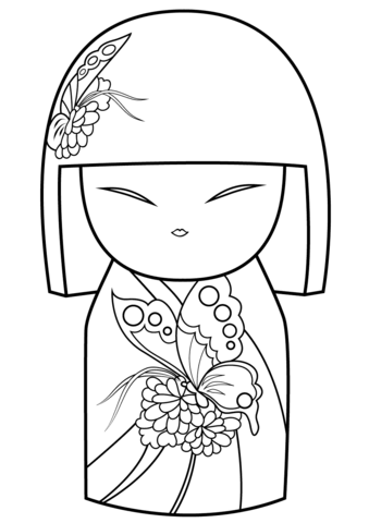 Kimmi Doll With Butterfly Ornament Coloring Page Free Printable Coloring Pages Coloring Pages Coloring Books Kokeshi Dolls