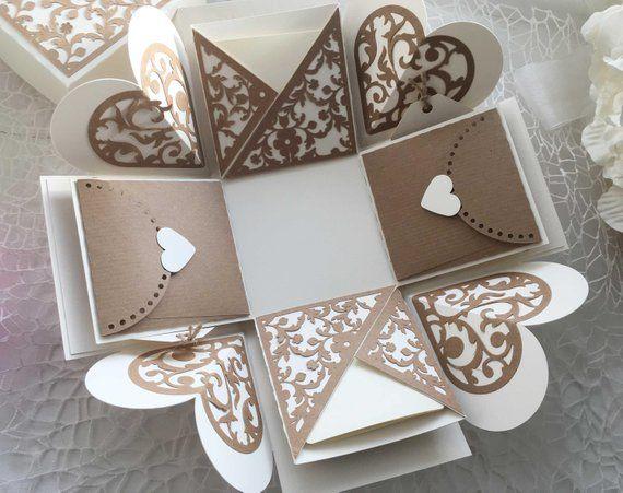 Photo of Rustic Explosion Photo Box, Love Photo box perfect for Birthday / Anniversary / Wedding gift, Surprise Memory Box, Photo Album Box Rustic