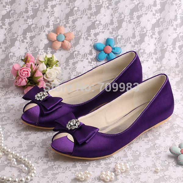 Brand Name Dark Purple Flat Shoes Bridesmaid Open Toe 15 Colors Bow